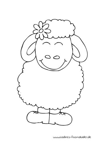 Ausmalbild Fröhliches Schaf