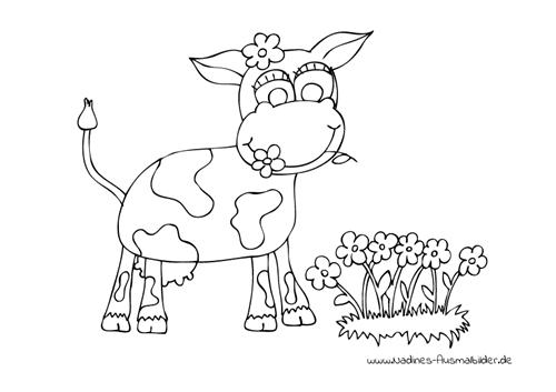 Ausmalbild Glückliche Kuh auf Blumenwiese