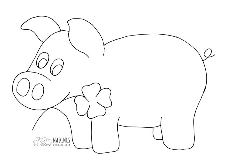 Ausmalbild Gluecksschwein