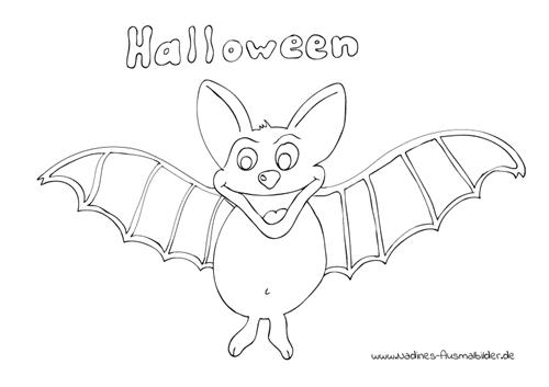 Ausmalbild Halloween Fledermaus
