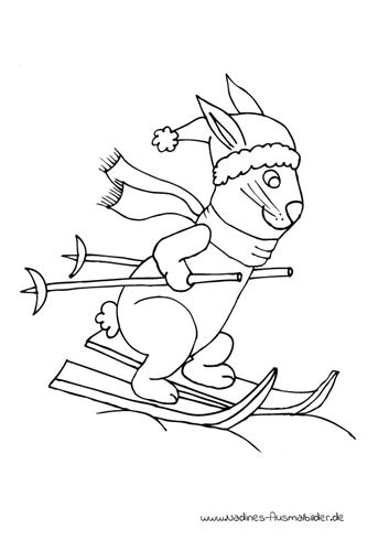 Ausmalbild Hase auf Ski mit Mütze