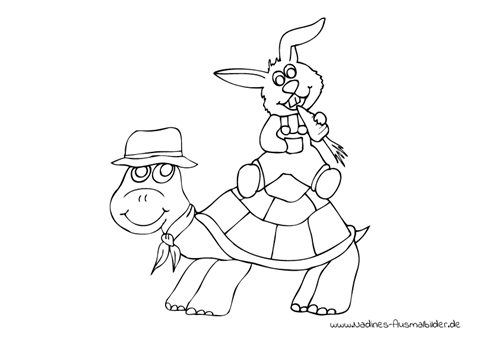 Ausmalbild Hase mit Karotte sitzt auf Schildkröte