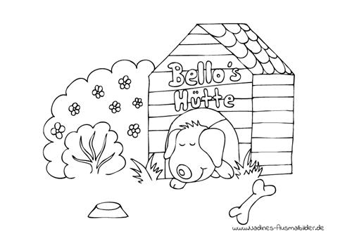 Ausmalbild Hund Bello Hund Bello in Hundehütte