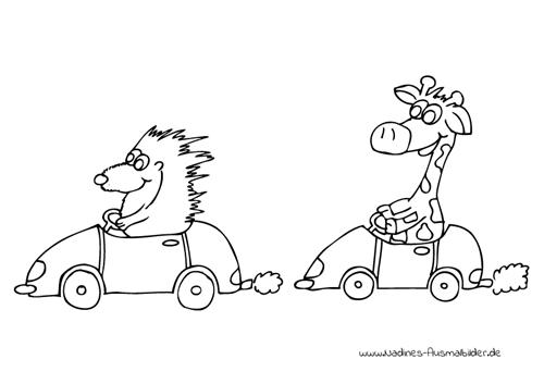 Ausmalbild Igel und Giraffe fahren Autorennen