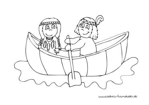 Ausmalbild Indianerkinder im Kanu
