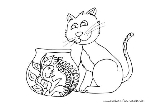 Ausmalbild Katze fischt Fisch aus Aquarium