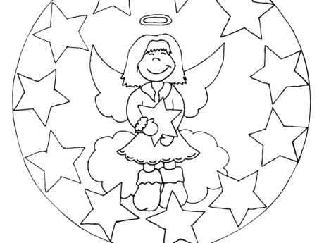 Ausmalbild Mandala Engel