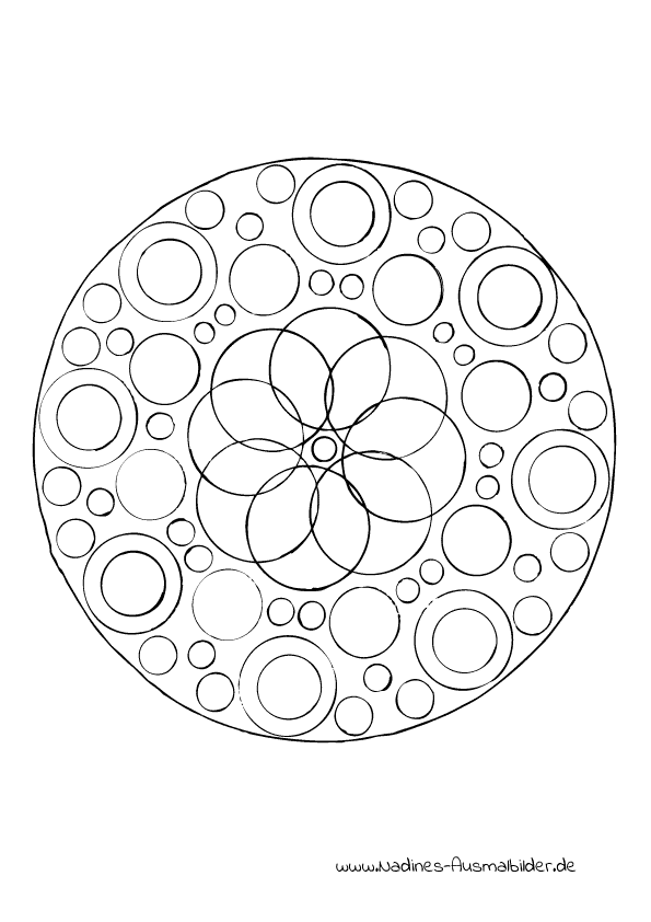 Ausmalbild Mandala Kreise
