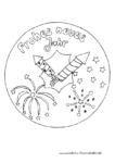 Ausmalbild Mandala Silvester