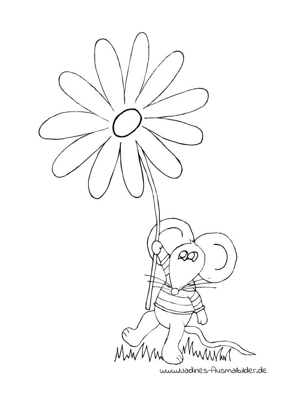 Maus mit bunter Frühlingsblume
