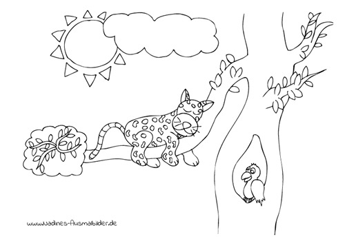 Ausmalbild Müder Jaguar auf Ast in Baum mit Papagei
