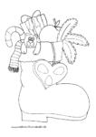 Ausmalbild Nikolausstiefel mit Zuckerstange Bär Apfel und Geschenk