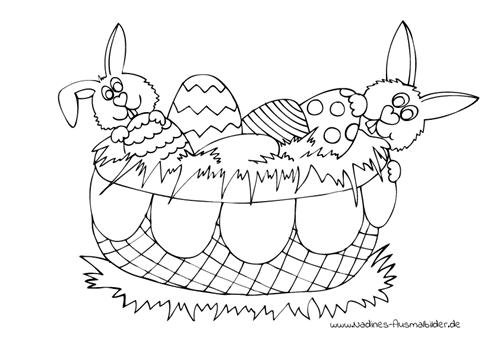 Ausmalbild Osterkorb mit bunten Ostereiern und Osterhasen