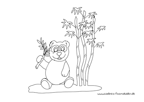 Ausmalbild Pandabär mit Bambusästen