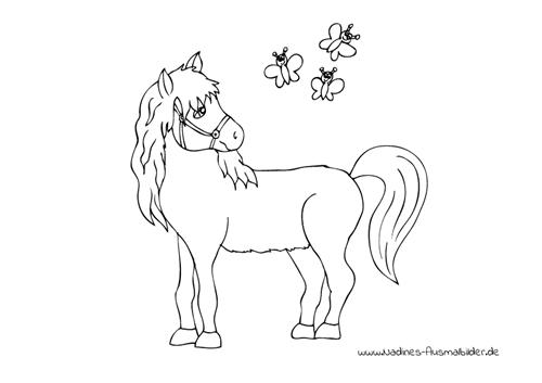 Ausmalbild Pferd mit lustigen Schmetterlingen