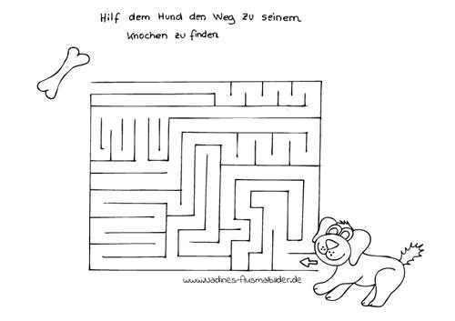 Ausmalbild Kinderrätsel Labyrinth