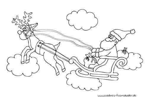 Ausmalbild Rentierschlitten mit Weihnachtsmann und Geschenken