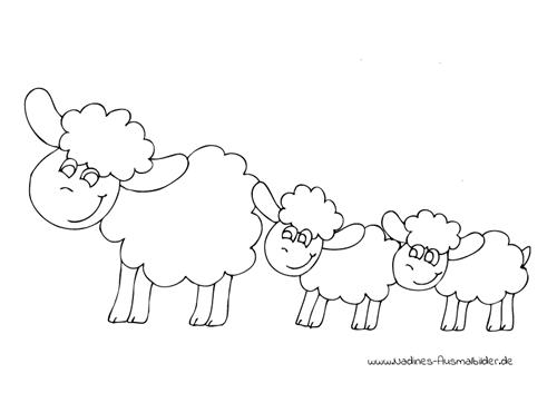 Ausmalbild Schaffamilie