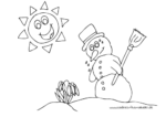Ausmalbild Schneemann mit Schneeglöckchen