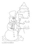 Ausmalbild Schneemann mit Zylinder und Besen vor Tannenbaum