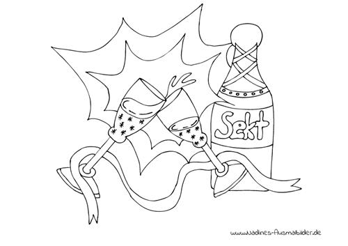 Ausmalbild Silvester Sektflasche