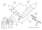 Ausmalbild Silvesterraketen Frohes neues Jahr