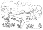 Ausmalbild Sommerwiese mit Pferd