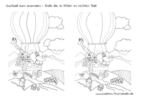 Ausmalbild Kinderrätsel Suchbild Tierfreunde im Heißluftballon