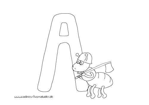 Ausmalbild Tieralphabet ABC Buchstabe A mit Bauarbeiter Ameise