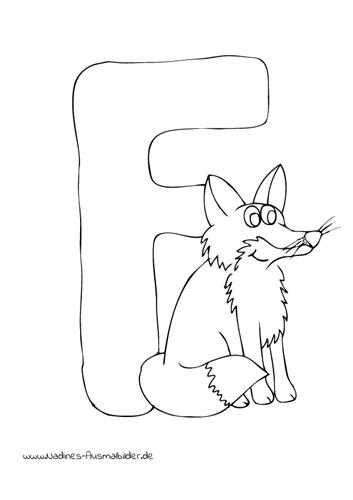Tieralphabet ABC Buchstabe F mit freudigem Fuchs
