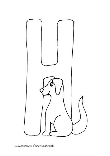 Ausmalbild Tieralphabet ABC Buchstabe H mit Hund
