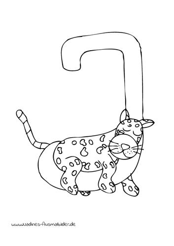 Ausmalbild Tieralphabet ABC Buchstabe J mit müder Jaguar
