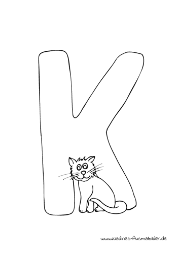 Ausmalbild Tieralphabet ABC Buchstabe K und kuscheliger Katze