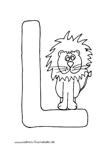 tieralphabet buchstabe l mit leo löwe  nadines ausmalbilder