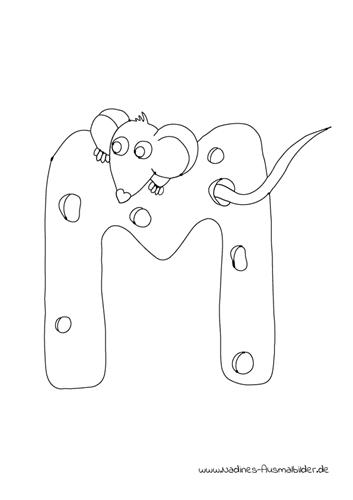 Tieralphabet ABC Buchstabe M mit Maus und Käse