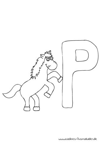 Ausmalbild Tieralphabet ABC Buchstabe P mit springendem Pferd