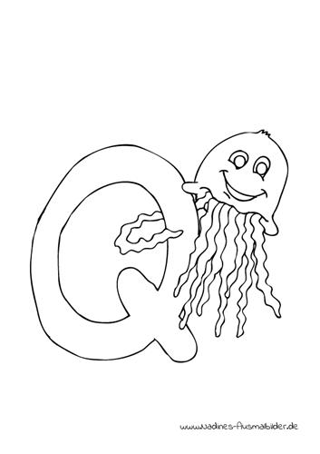 Tieralphabet ABC Buchstabe Q mit lächelnder Qualle