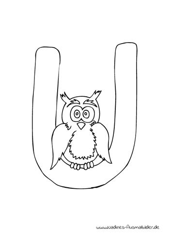 Ausmalbild Tieralphabet ABC Buchstabe U mit altem klugen Uhu