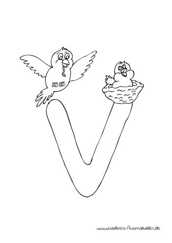 Ausmalbild Tieralphabet ABC Buchstabe V mit fliegendem Vogel