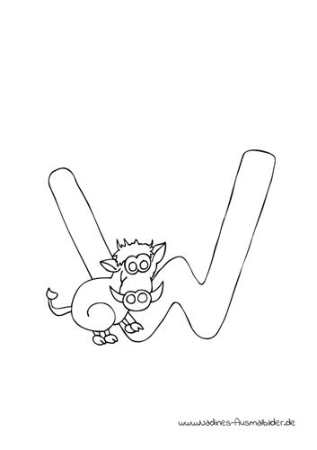 Ausmalbild Tieralphabet ABC Buchstabe W mit lustigem Wildschwein