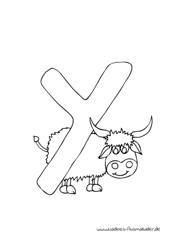Ausmalbild Tieralphabet ABC Buchstabe Y mit Yak