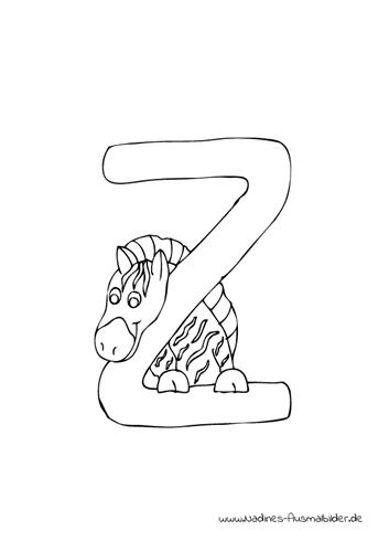 Ausmalbild Tieralphabet ABC Buchstabe Z mit gestreiftem Zebra