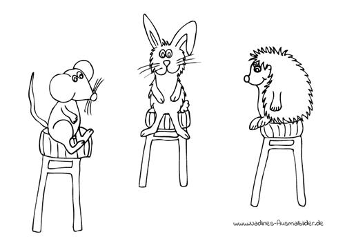 Ausmalbild Tierfreunde Hase Maus und Igel auf Hockern