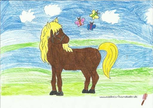 Ausmalbild Pferd auf Sommerwiese ausgemalt von Fiona 9 Jahre