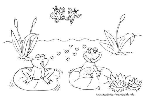 Ausmalbild Verliebte Frösche im Teich mit Seerosen