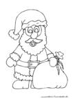 Ausmalbild Weihnachtsmann mit grossem Geschenkesack