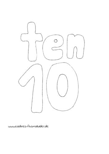 Ausmalbild Zahl 10 Ten Englisch