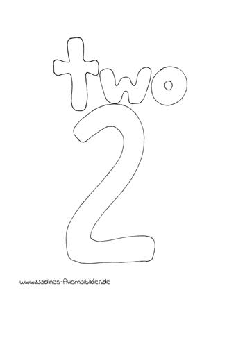 Ausmalbild Zahl 2 Two Englisch