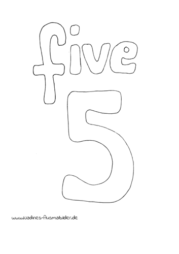 Ausmalbild Zahl 5 Five Englisch