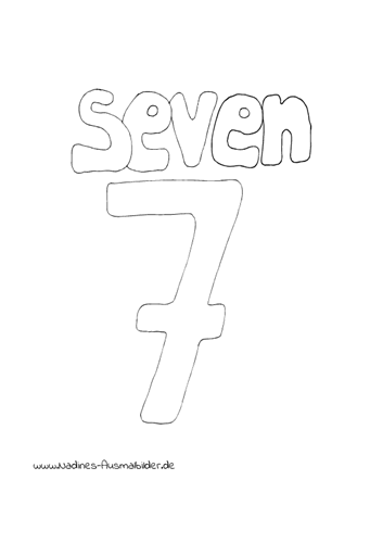 Englische Zahlen 7 Seven Nadines Ausmalbilder